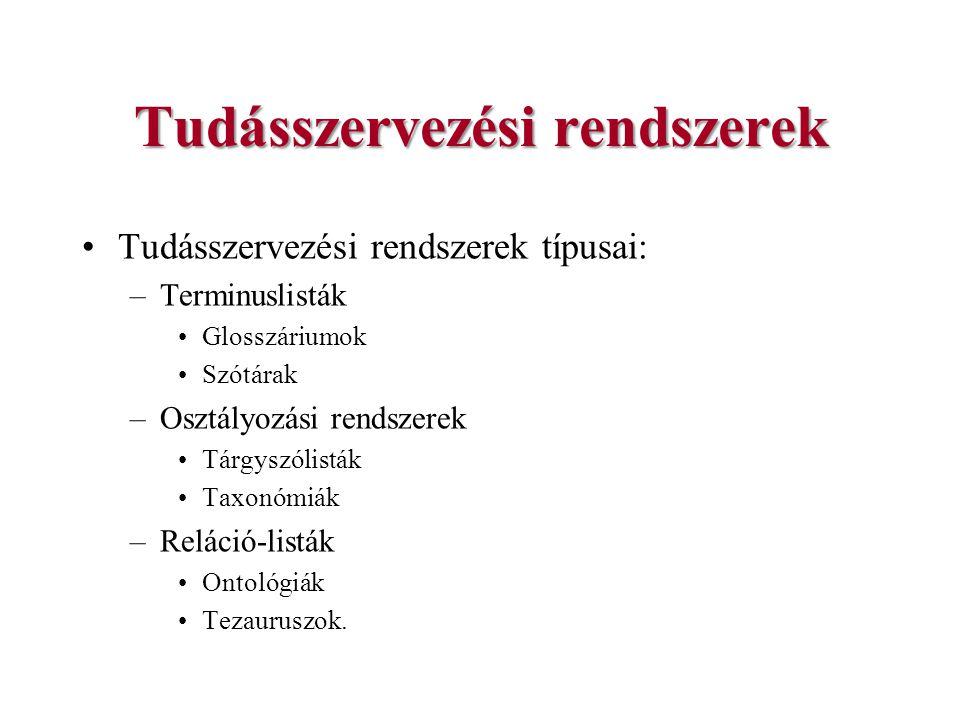 Könyvtári szemantikus web alkalmazások JeromeDL projekt –A szemantikus web szabványok digitális könyvtári környezetben való használatát tűzte ki célul –a Gdanski Egyetem Központi Könyvtára és a Digitális Vállalat Kutatóintézet (Digital Enterprise Research Institute) –Közösségi szemantikus digitális portál (kísérleti rendszer) a szemantikus web és a web 2.0 számos ismérvét tartalmazza.