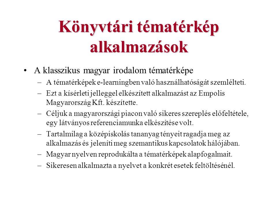 Könyvtári tématérkép alkalmazások A klasszikus magyar irodalom tématérképe –A tématérképek e-learningben való használhatóságát szemlélteti. –Ezt a kís