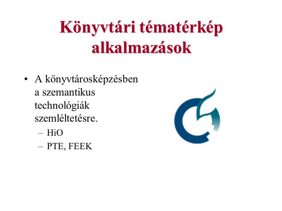 Könyvtári tématérkép alkalmazások A könyvtárosképzésben a szemantikus technológiák szemléltetésre. –HiO –PTE, FEEK
