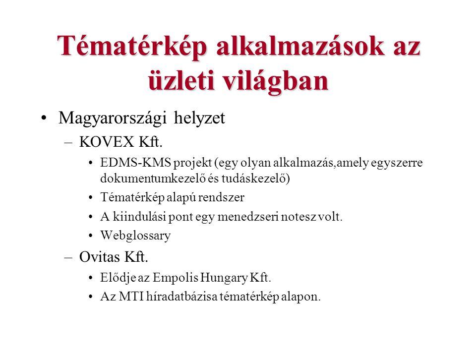 Tématérkép alkalmazások az üzleti világban Magyarországi helyzet –KOVEX Kft. EDMS-KMS projekt (egy olyan alkalmazás,amely egyszerre dokumentumkezelő é