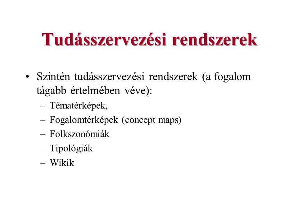 Tudásszervezési rendszerek Szintén tudásszervezési rendszerek (a fogalom tágabb értelmében véve): –Tématérképek, –Fogalomtérképek (concept maps) –Folk