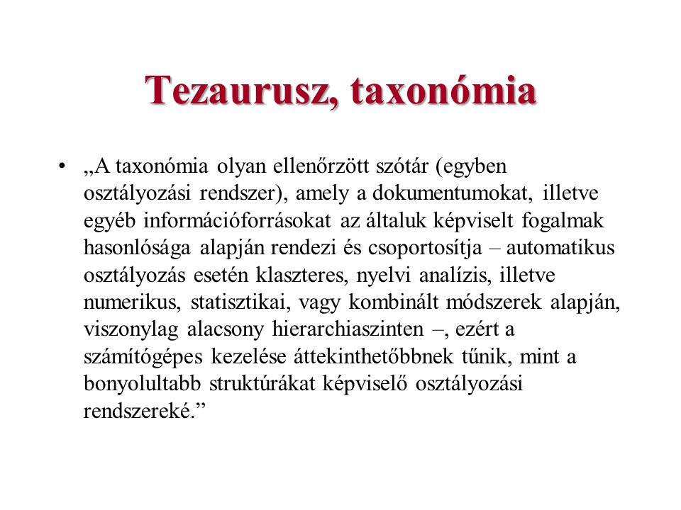 """Tezaurusz, taxonómia """"A taxonómia olyan ellenőrzött szótár (egyben osztályozási rendszer), amely a dokumentumokat, illetve egyéb információforrásokat"""