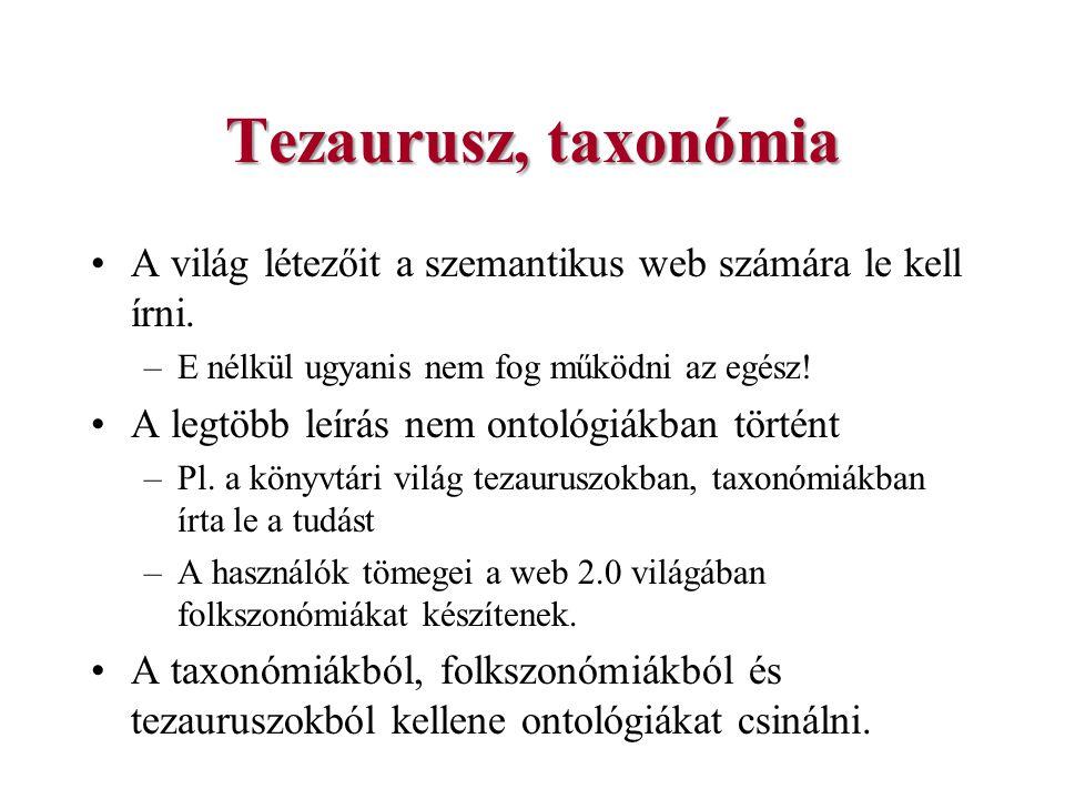 Tezaurusz, taxonómia A világ létezőit a szemantikus web számára le kell írni. –E nélkül ugyanis nem fog működni az egész! A legtöbb leírás nem ontológ