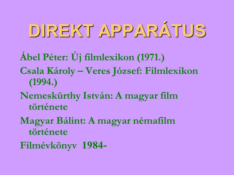 DIREKT APPARÁTUS Ábel Péter: Új filmlexikon (1971.) Csala Károly – Veres József: Filmlexikon (1994.) Nemeskürthy István: A magyar film története Magya