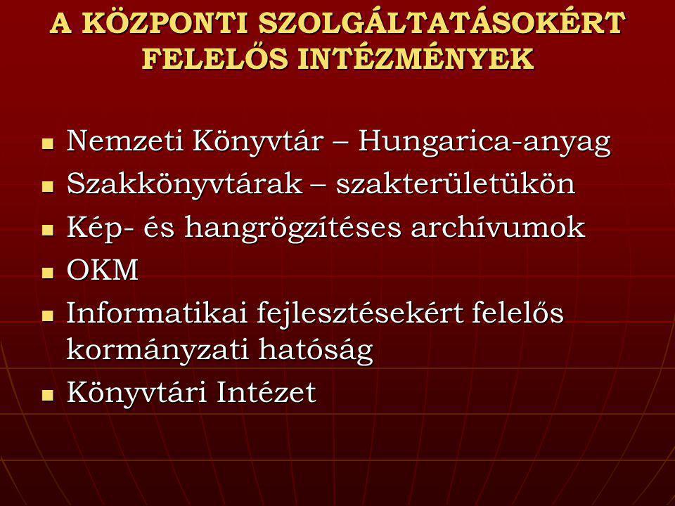 A KÖZPONTI SZOLGÁLTATÁSOKÉRT FELELŐS INTÉZMÉNYEK Nemzeti Könyvtár – Hungarica-anyag Nemzeti Könyvtár – Hungarica-anyag Szakkönyvtárak – szakterületükö