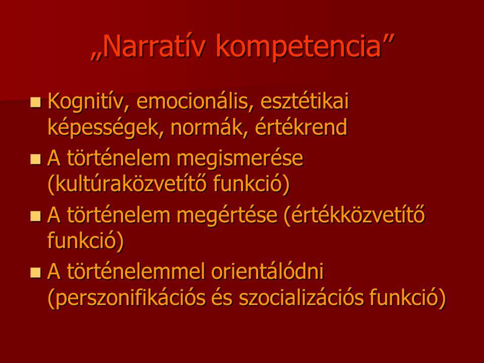 """""""Narratív kompetencia Kognitív, emocionális, esztétikai képességek, normák, értékrend Kognitív, emocionális, esztétikai képességek, normák, értékrend A történelem megismerése (kultúraközvetítő funkció) A történelem megismerése (kultúraközvetítő funkció) A történelem megértése (értékközvetítő funkció) A történelem megértése (értékközvetítő funkció) A történelemmel orientálódni (perszonifikációs és szocializációs funkció) A történelemmel orientálódni (perszonifikációs és szocializációs funkció)"""