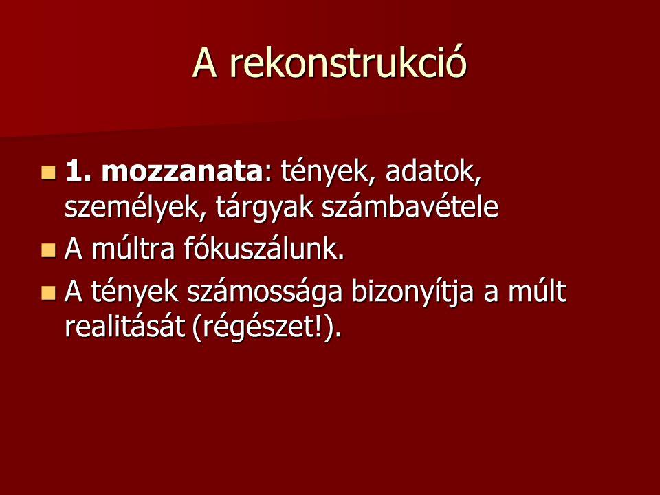 A rekonstrukció 1.mozzanata: tények, adatok, személyek, tárgyak számbavétele 1.