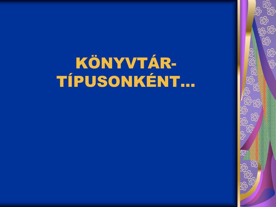 KÖNYVTÁR- TÍPUSONKÉNT…