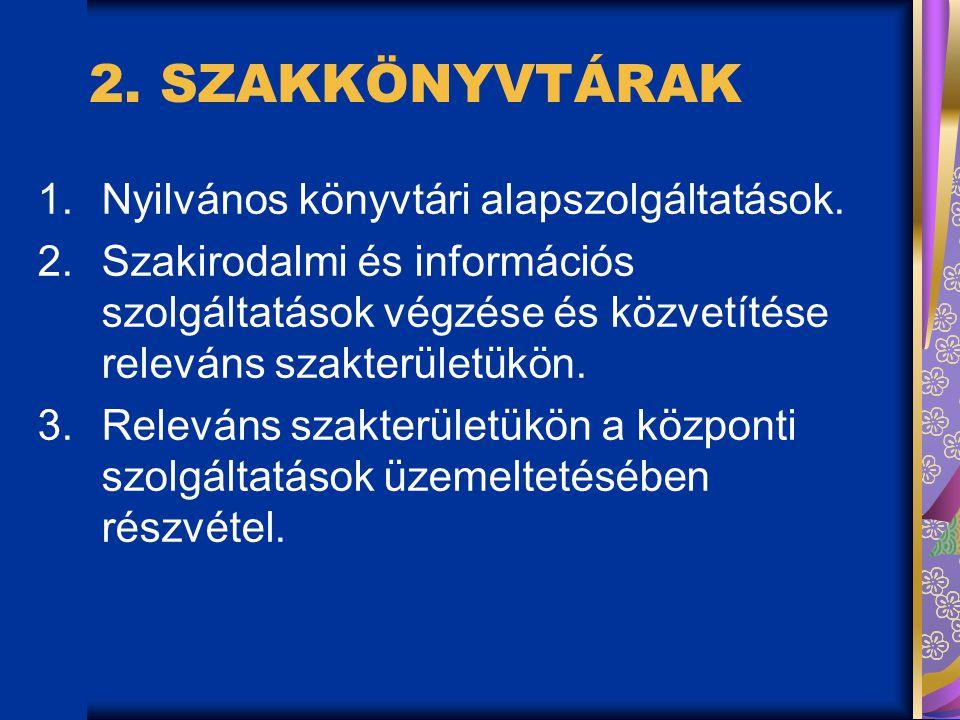 2.SZAKKÖNYVTÁRAK 1.Nyilvános könyvtári alapszolgáltatások.