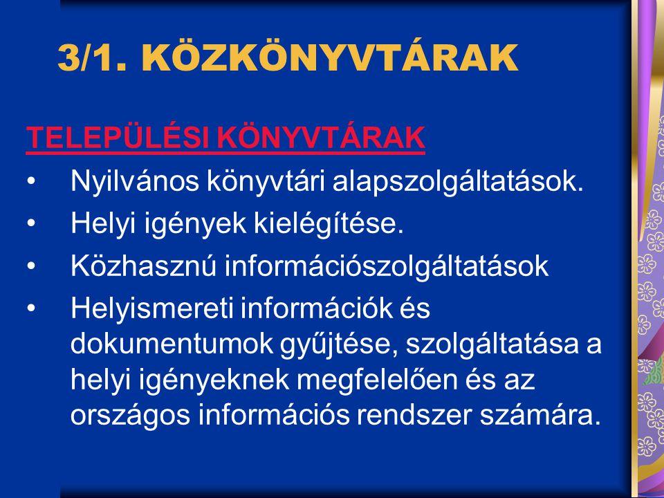 3/1.KÖZKÖNYVTÁRAK TELEPÜLÉSI KÖNYVTÁRAK Nyilvános könyvtári alapszolgáltatások.