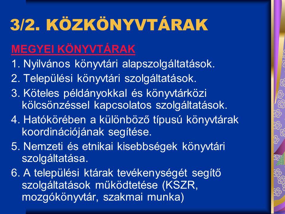 3/2.KÖZKÖNYVTÁRAK MEGYEI KÖNYVTÁRAK 1. Nyilvános könyvtári alapszolgáltatások.