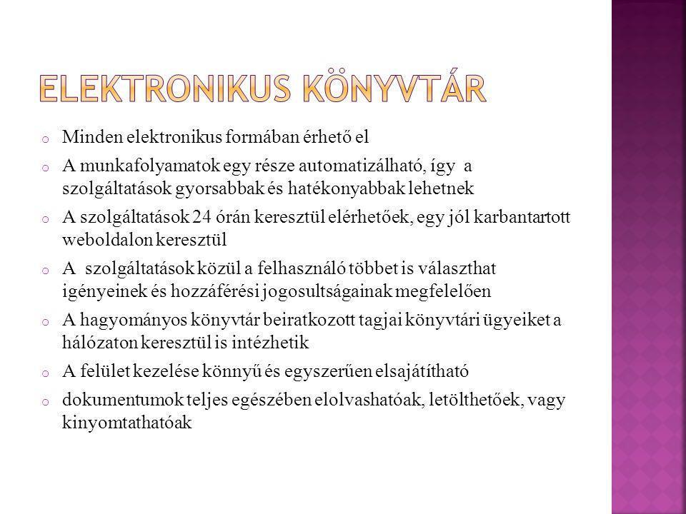 o Magyar Elektronikus Könyvtár (MEK) Magyar Elektronikus Könyvtár (MEK)