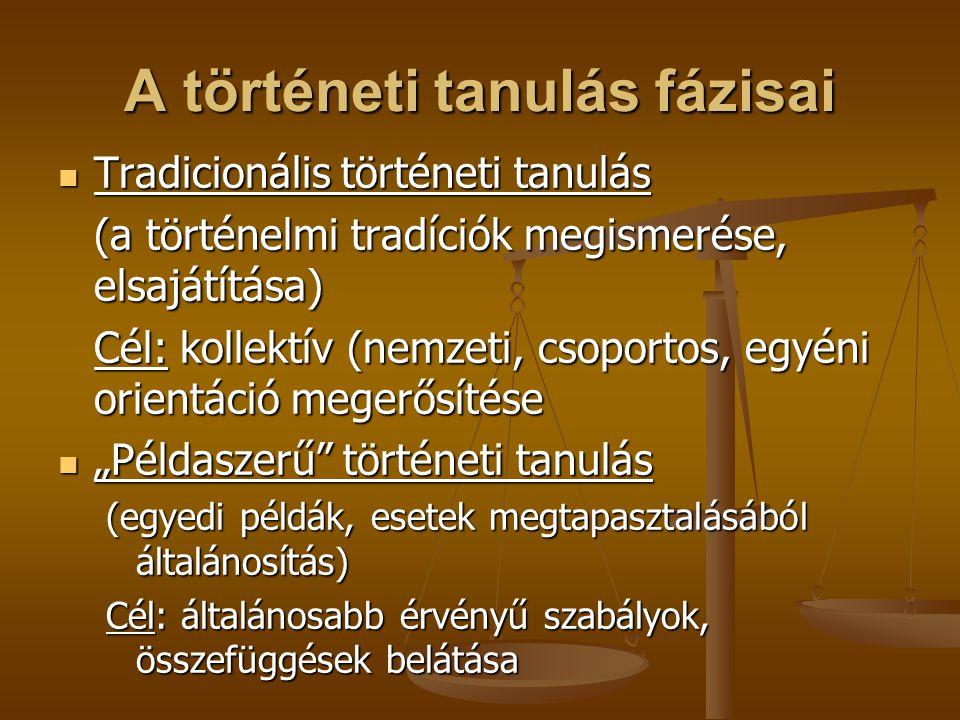 A történeti tanulás fázisai Tradicionális történeti tanulás Tradicionális történeti tanulás (a történelmi tradíciók megismerése, elsajátítása) Cél: ko