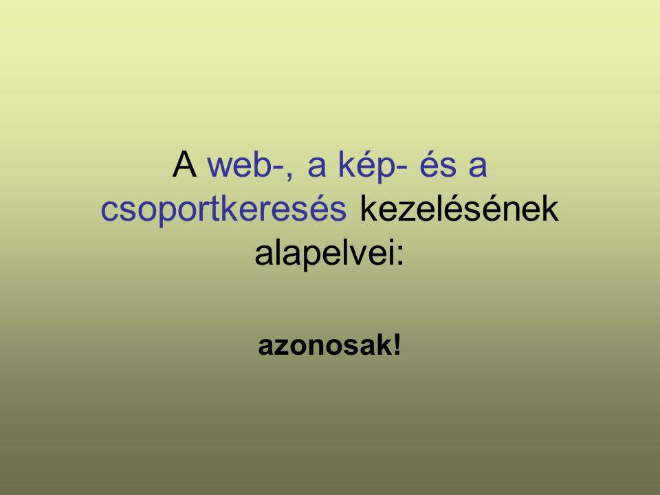 A web-, a kép- és a csoportkeresés kezelésének alapelvei: azonosak!
