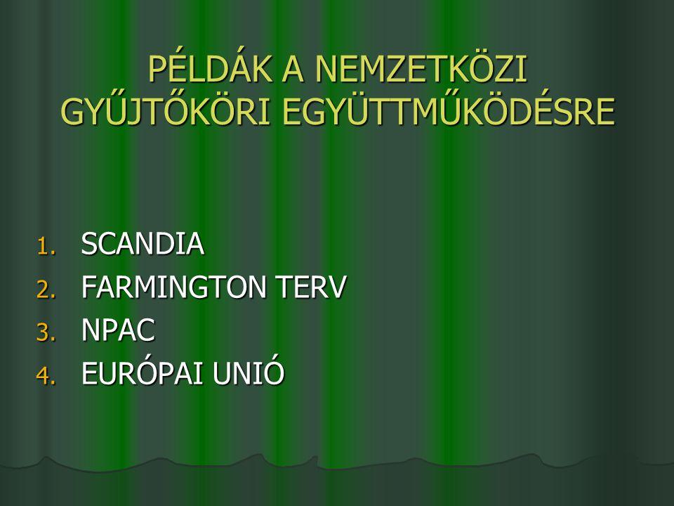 PÉLDÁK A NEMZETKÖZI GYŰJTŐKÖRI EGYÜTTMŰKÖDÉSRE 1. SCANDIA 2. FARMINGTON TERV 3. NPAC 4. EURÓPAI UNIÓ
