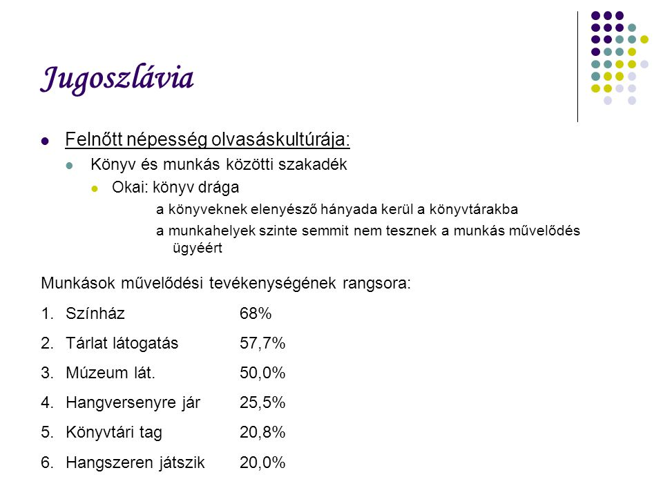 Jugoszlávia Felnőtt népesség olvasáskultúrája: Könyv és munkás közötti szakadék Okai: könyv drága a könyveknek elenyésző hányada kerül a könyvtárakba a munkahelyek szinte semmit nem tesznek a munkás művelődés ügyéért Munkások művelődési tevékenységének rangsora: 1.Színház68% 2.Tárlat látogatás57,7% 3.Múzeum lát.50,0% 4.Hangversenyre jár25,5% 5.Könyvtári tag20,8% 6.Hangszeren játszik20,0%