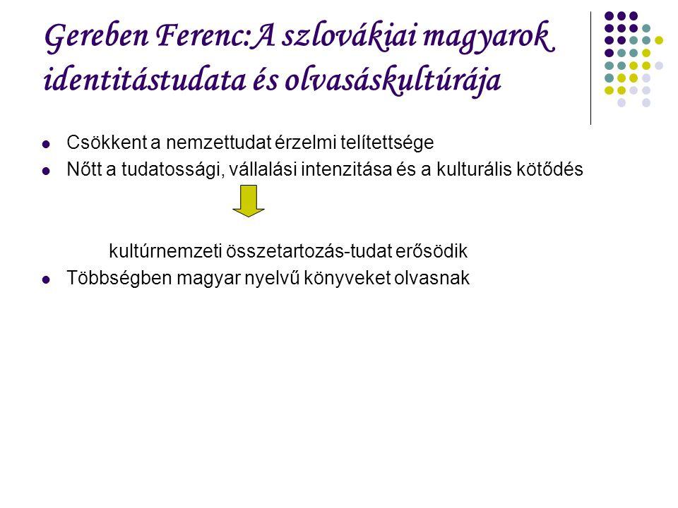 Gereben Ferenc:A szlovákiai magyarok identitástudata és olvasáskultúrája Csökkent a nemzettudat érzelmi telítettsége Nőtt a tudatossági, vállalási intenzitása és a kulturális kötődés kultúrnemzeti összetartozás-tudat erősödik Többségben magyar nyelvű könyveket olvasnak
