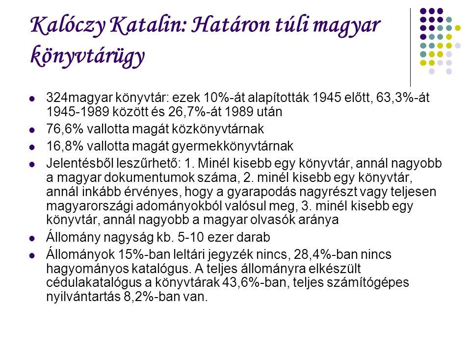 Kalóczy Katalin: Határon túli magyar könyvtárügy 324magyar könyvtár: ezek 10%-át alapították 1945 előtt, 63,3%-át 1945-1989 között és 26,7%-át 1989 után 76,6% vallotta magát közkönyvtárnak 16,8% vallotta magát gyermekkönyvtárnak Jelentésből leszűrhető: 1.