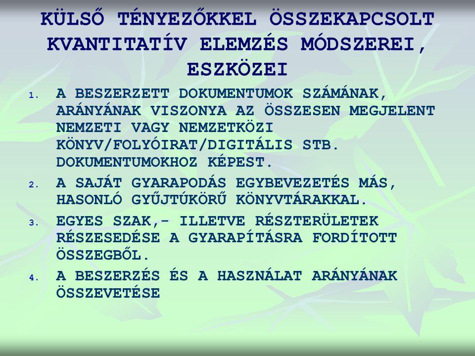 KÜLSŐ TÉNYEZŐKKEL ÖSSZEKAPCSOLT KVANTITATÍV ELEMZÉS MÓDSZEREI, ESZKÖZEI 1.