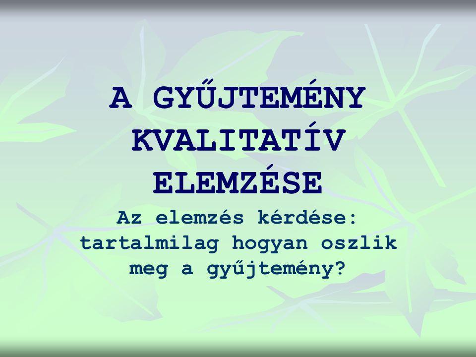 A KVALITATÍV ELEMZÉS SZEMPONTJAI 1.1. A GYŰJTEMÉNY INFORMÁCIÓS TARTALMÁNAK KORSZERŰSÉGE 2.