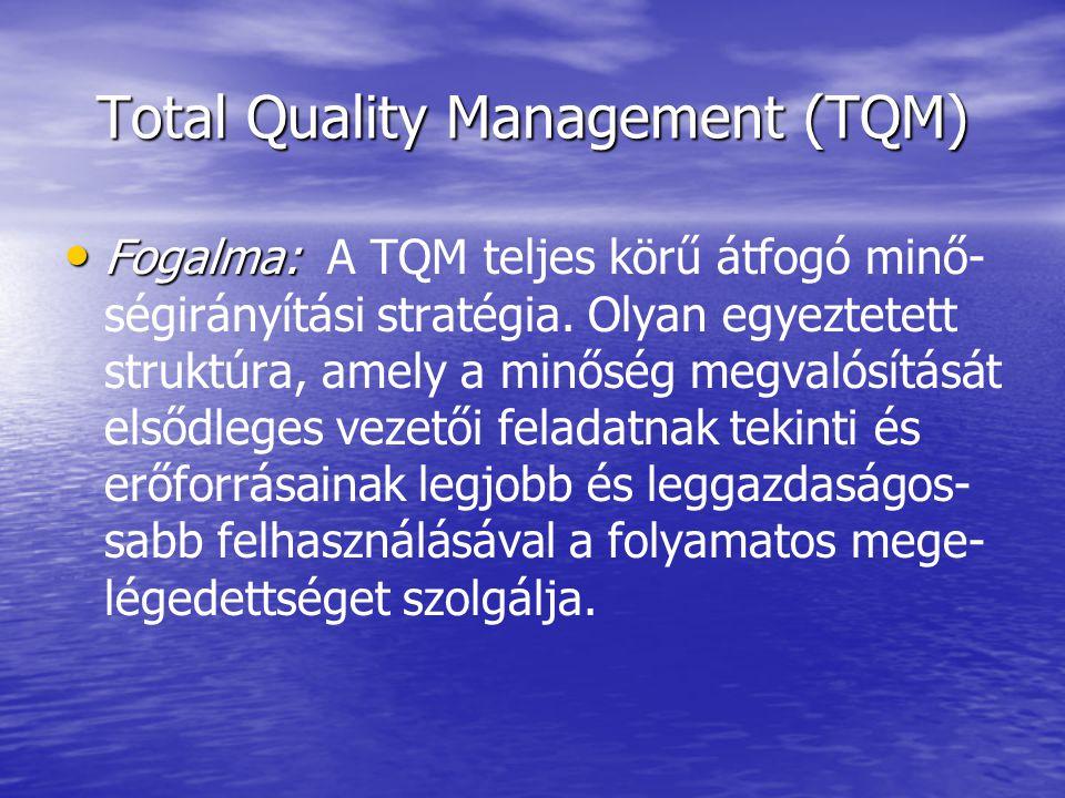 Total Quality Management (TQM) Fogalma: Fogalma: A TQM teljes körű átfogó minő- ségirányítási stratégia. Olyan egyeztetett struktúra, amely a minőség
