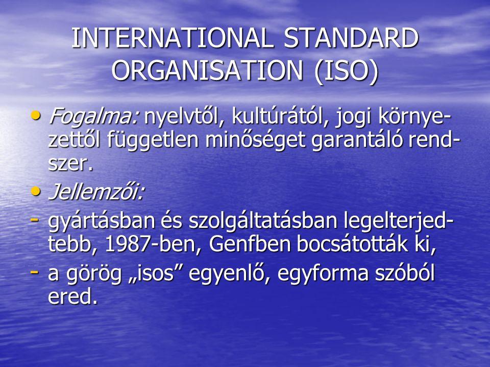 INTERNATIONAL STANDARD ORGANISATION (ISO) Fogalma: nyelvtől, kultúrától, jogi környe- zettől független minőséget garantáló rend- szer. Fogalma: nyelvt