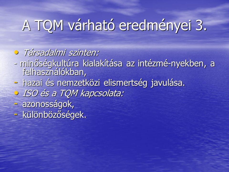 A TQM várható eredményei 3. Társadalmi szinten: Társadalmi szinten: - minőségkultúra kialakítása az intézmé-nyekben, a felhasználókban, - hazai és nem