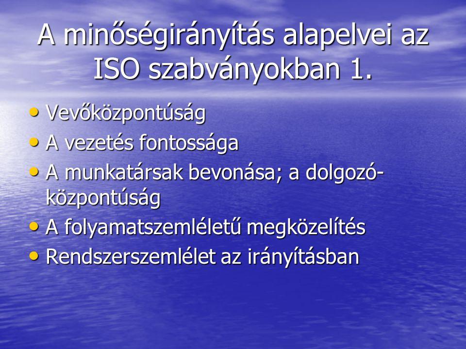 A minőségirányítás alapelvei az ISO szabványokban 1. Vevőközpontúság Vevőközpontúság A vezetés fontossága A vezetés fontossága A munkatársak bevonása;