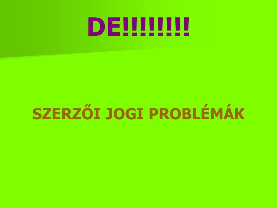 DE!!!!!!!! SZERZŐI JOGI PROBLÉMÁK