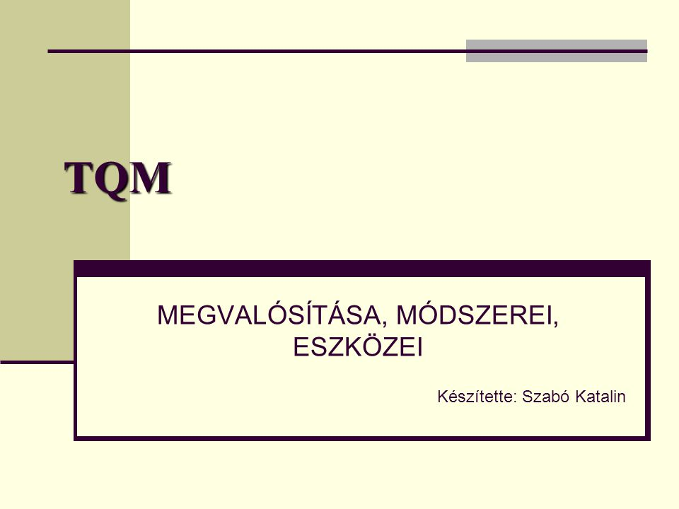 TQM MEGVALÓSÍTÁSA, MÓDSZEREI, ESZKÖZEI Készítette: Szabó Katalin