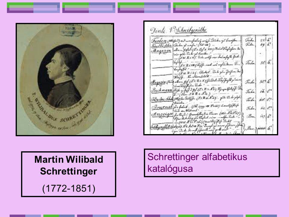 Schrettinger alfabetikus katalógusa Martin Wilibald Schrettinger (1772-1851)