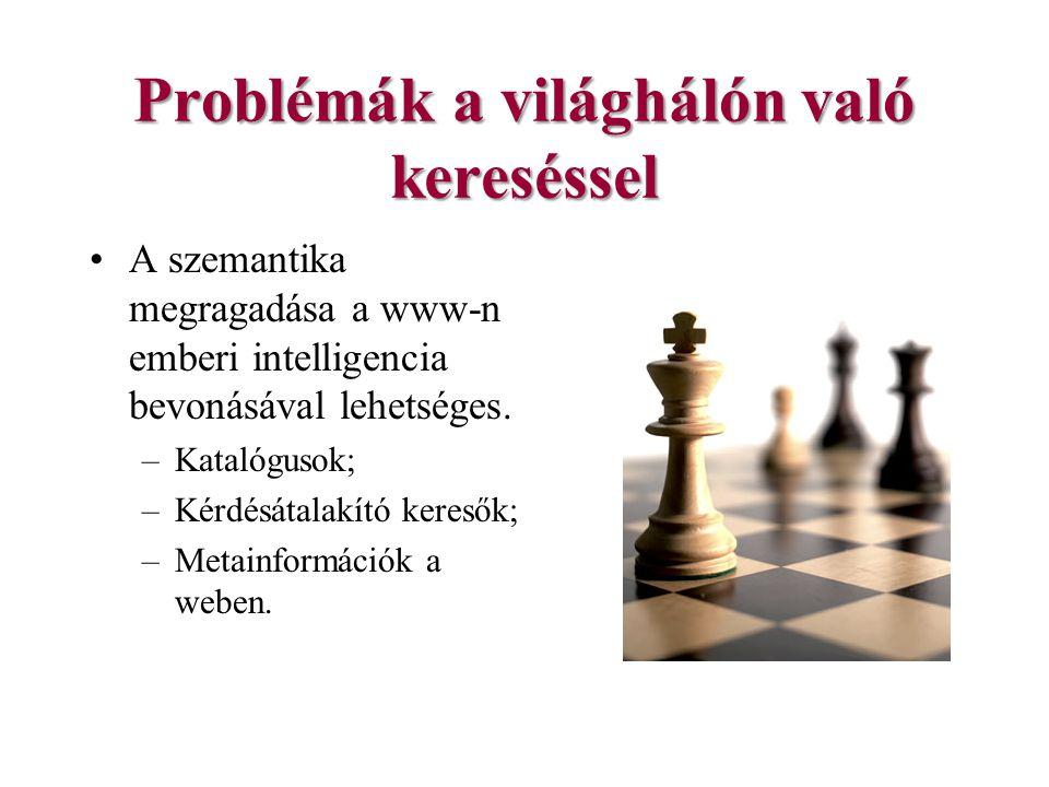 Problémák a világhálón való kereséssel A szemantika megragadása a www-n emberi intelligencia bevonásával lehetséges.