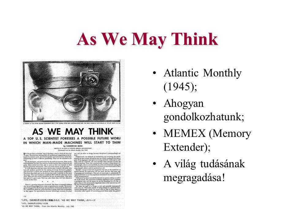 As We May Think Atlantic Monthly (1945); Ahogyan gondolkozhatunk; MEMEX (Memory Extender); A világ tudásának megragadása!