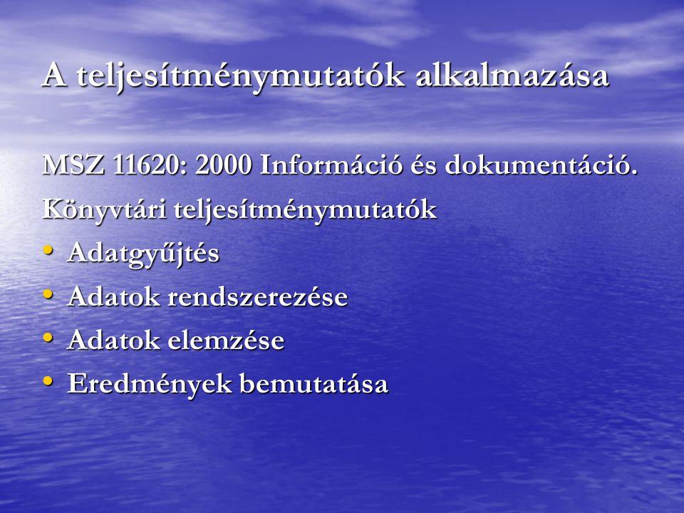 A teljesítménymutatók alkalmazása MSZ 11620: 2000 Információ és dokumentáció. Könyvtári teljesítménymutatók Adatgyűjtés Adatgyűjtés Adatok rendszerezé