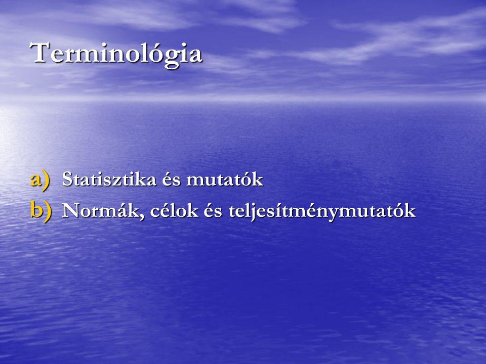 Terminológia a) Statisztika és mutatók b) Normák, célok és teljesítménymutatók