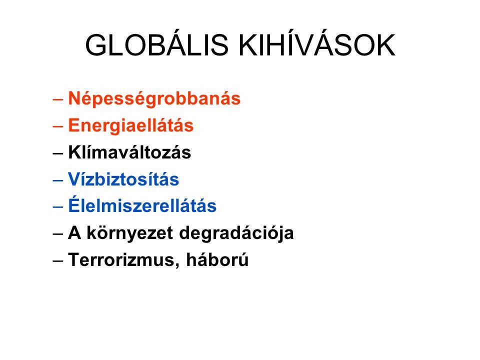 GLOBÁLIS KIHÍVÁSOK –Népességrobbanás –Energiaellátás –Klímaváltozás –Vízbiztosítás –Élelmiszerellátás –A környezet degradációja –Terrorizmus, háború