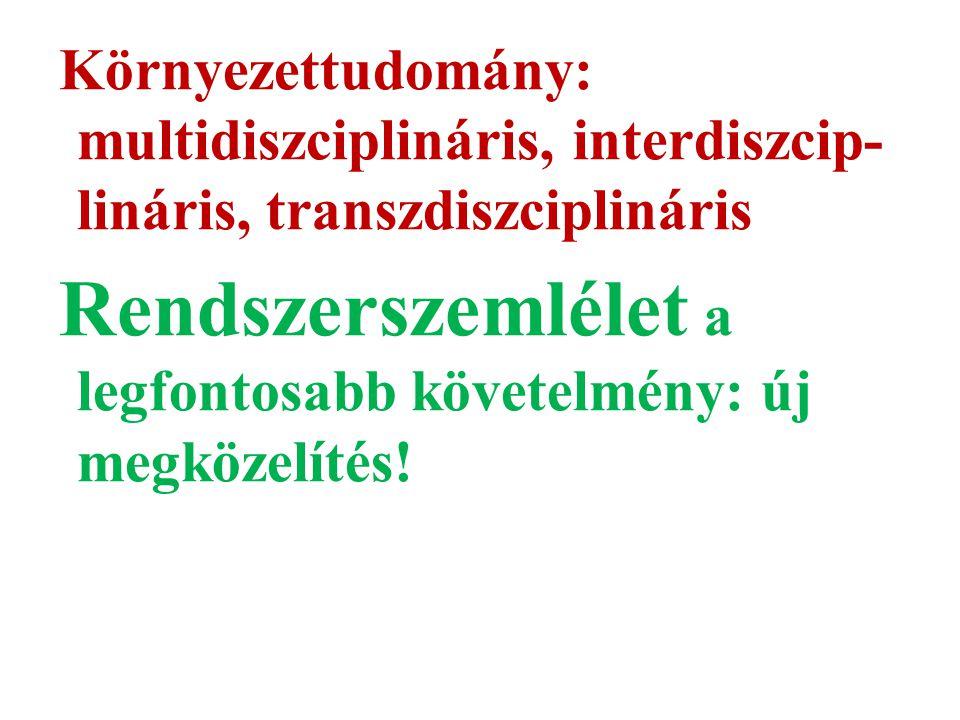 Környezettudomány: multidiszciplináris, interdiszcip- lináris, transzdiszciplináris Rendszerszemlélet a legfontosabb követelmény: új megközelítés!