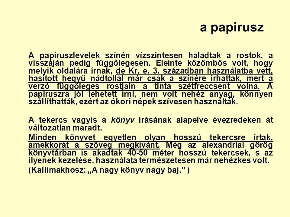 a papirusz A papiruszlevelek színén vízszintesen haladtak a rostok, a visszáján pedig függőlegesen. Eleinte közömbös volt, hogy melyik oldalára írnak,