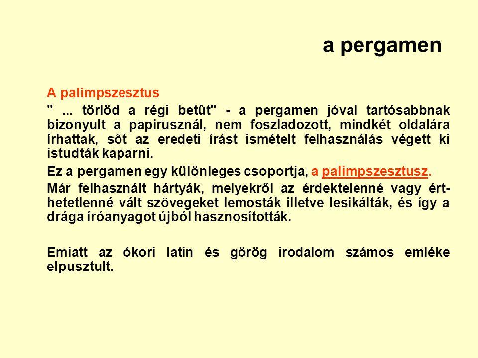 a pergamen A palimpszesztus