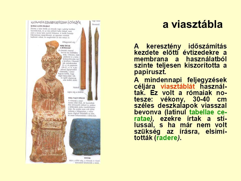 a viasztábla A keresztény időszámítás kezdete előtti évtizedekre a membrana a használatból szinte teljesen kiszorította a papiruszt. A mindennapi felj