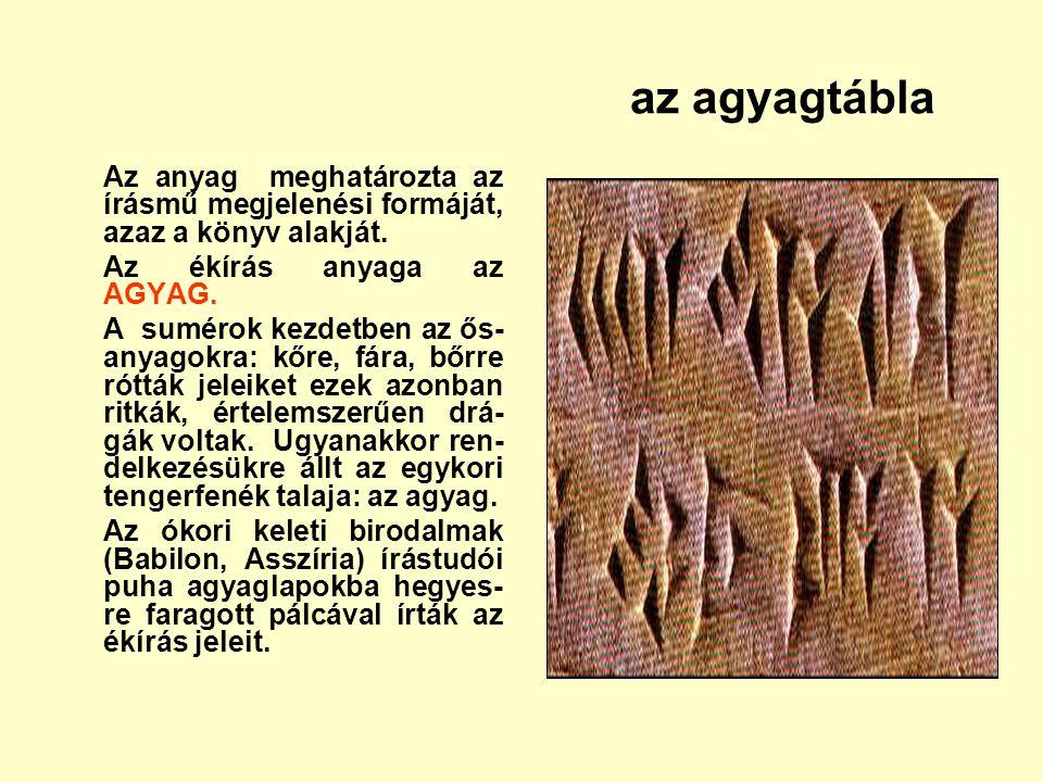 Az anyag meghatározta az írásmű megjelenési formáját, azaz a könyv alakját. Az ékírás anyaga az AGYAG. A sumérok kezdetben az ős- anyagokra: kőre, fár