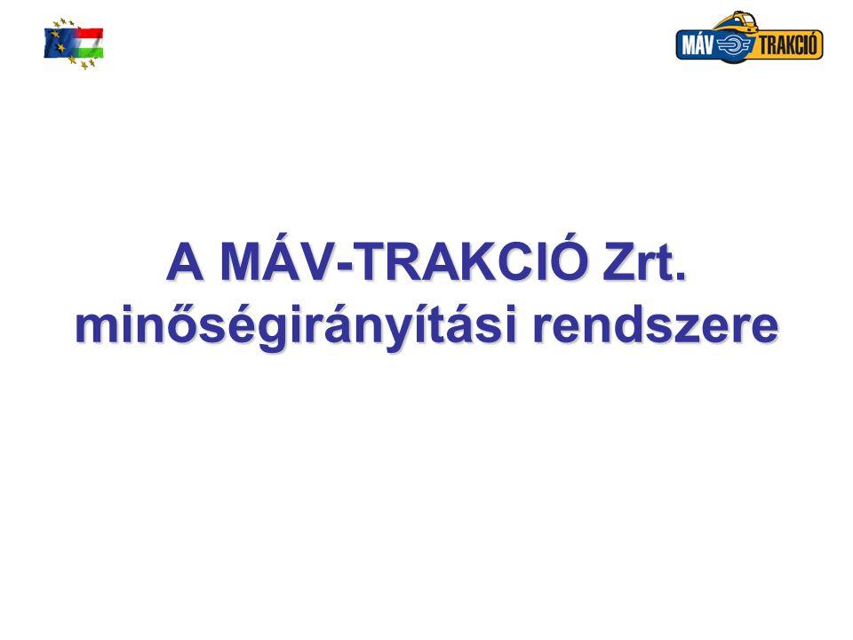 MÁV-TRAKCIÓ Vasúti Vontatási Zártkörűen Működő Részvénytársaság 32 A termék előállítás megtervezése a szolgáltatásra vonatkozó követelmények és minőségcélok (a vevői követelmények, műszaki előírások alapján), a szolgáltatási folyamathoz szükséges dokumentumok, valamint a konkrét erőforrások (eszközök, tudás), a szolgáltatás elfogadási kritériumai - igazolási, érvényesítési, figyelemmel kísérési, ellenőrzési és vizsgálati tevékenységek, a szükséges feljegyzések.