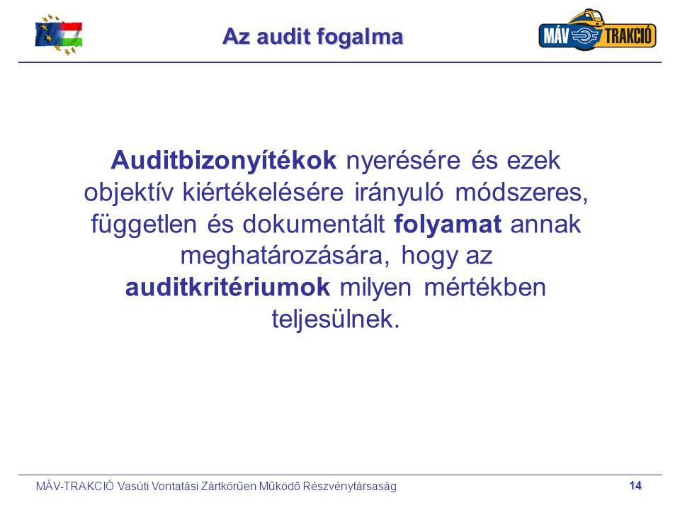 MÁV-TRAKCIÓ Vasúti Vontatási Zártkörűen Működő Részvénytársaság 14 Az audit fogalma Auditbizonyítékok nyerésére és ezek objektív kiértékelésére irányu