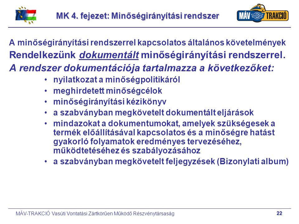 MÁV-TRAKCIÓ Vasúti Vontatási Zártkörűen Működő Részvénytársaság 22 MK 4. fejezet: Minőségirányítási rendszer A minőségirányítási rendszerrel kapcsolat