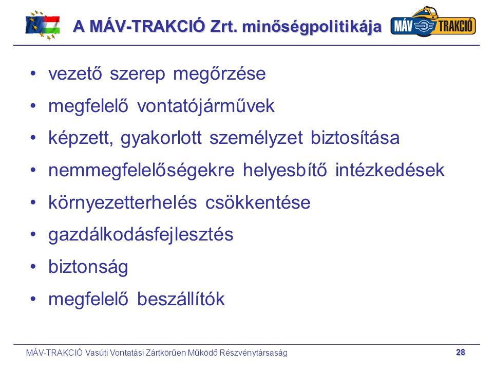 MÁV-TRAKCIÓ Vasúti Vontatási Zártkörűen Működő Részvénytársaság 28 A MÁV-TRAKCIÓ Zrt. minőségpolitikája vezető szerep megőrzése megfelelő vontatójármű