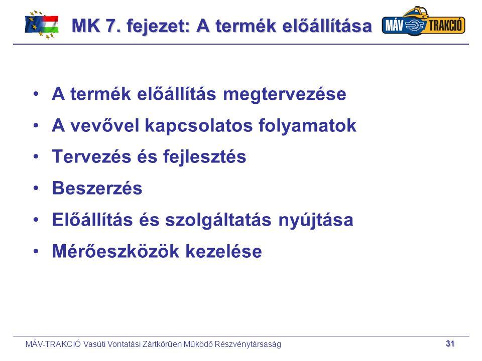 MÁV-TRAKCIÓ Vasúti Vontatási Zártkörűen Működő Részvénytársaság 31 A termék előállítás megtervezése A vevővel kapcsolatos folyamatok Tervezés és fejle