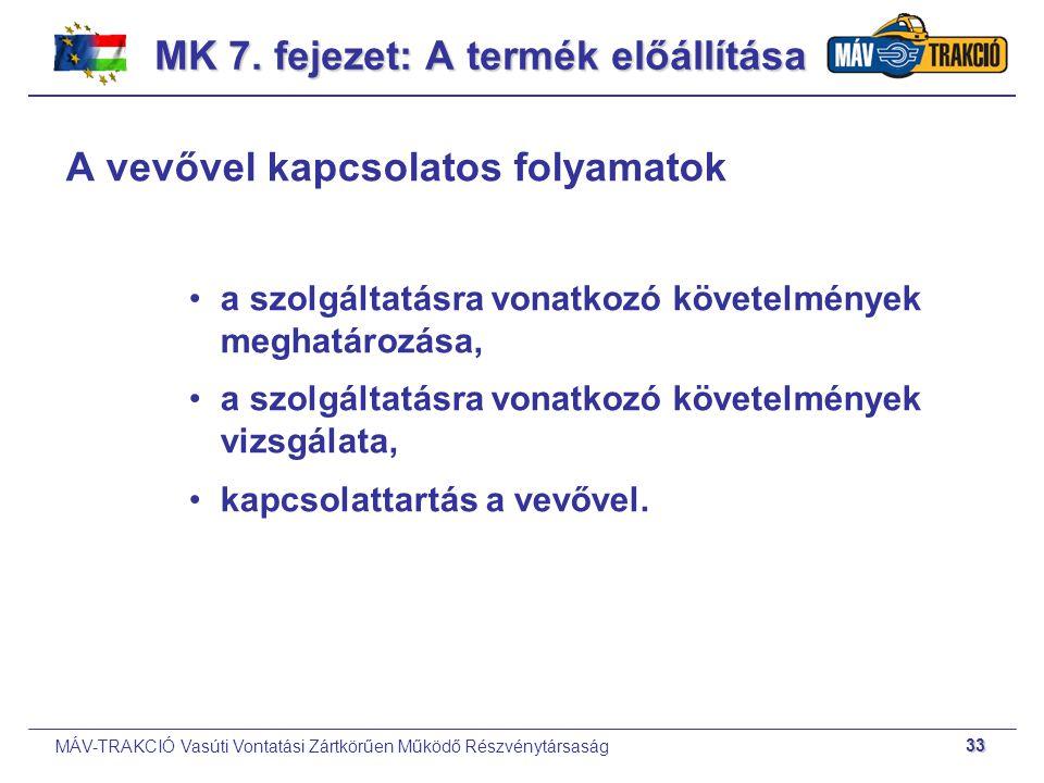 MÁV-TRAKCIÓ Vasúti Vontatási Zártkörűen Működő Részvénytársaság 33 A vevővel kapcsolatos folyamatok a szolgáltatásra vonatkozó követelmények meghatáro