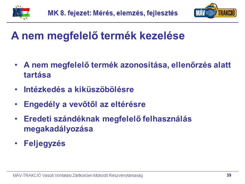 MÁV-TRAKCIÓ Vasúti Vontatási Zártkörűen Működő Részvénytársaság 39 MK 8. fejezet: Mérés, elemzés, fejlesztés A nem megfelelő termék kezelése A nem meg