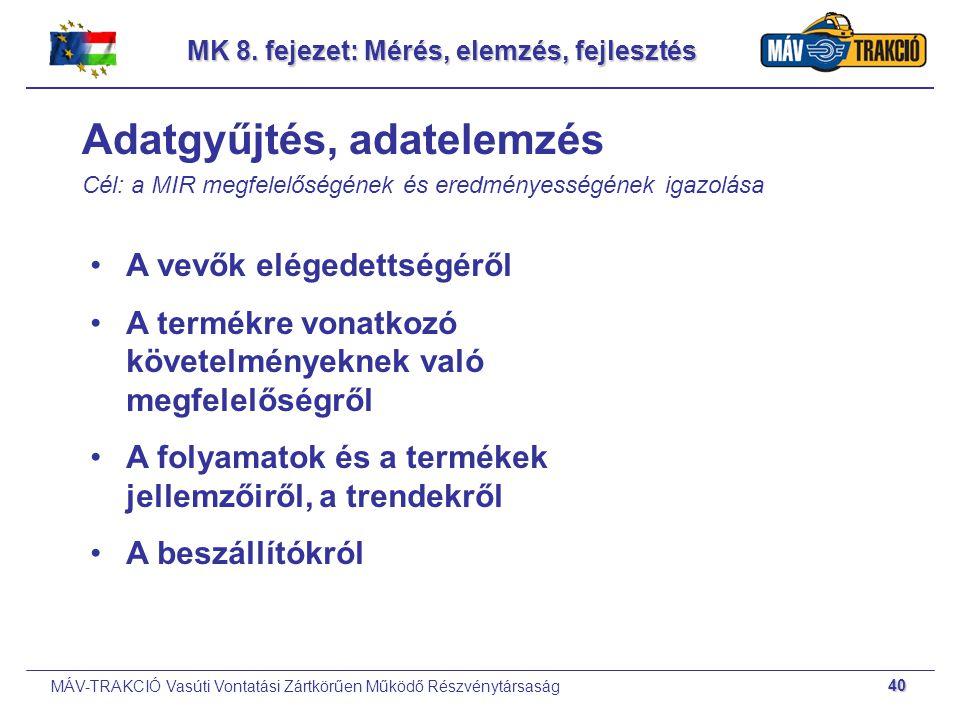 MÁV-TRAKCIÓ Vasúti Vontatási Zártkörűen Működő Részvénytársaság 40 MK 8. fejezet: Mérés, elemzés, fejlesztés Adatgyűjtés, adatelemzés Cél: a MIR megfe