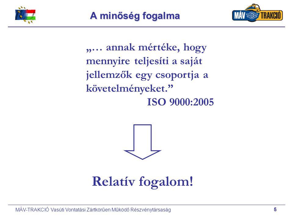 MÁV-TRAKCIÓ Vasúti Vontatási Zártkörűen Működő Részvénytársaság 6 A minőségirányítás fogalma Minőségellenőrzés: termék végellenőrzés.